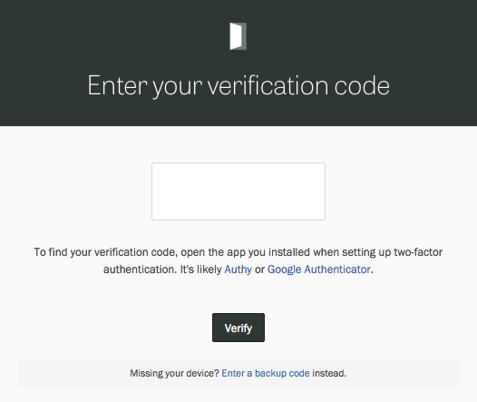 Logging in with 2-factor authentication enabled.