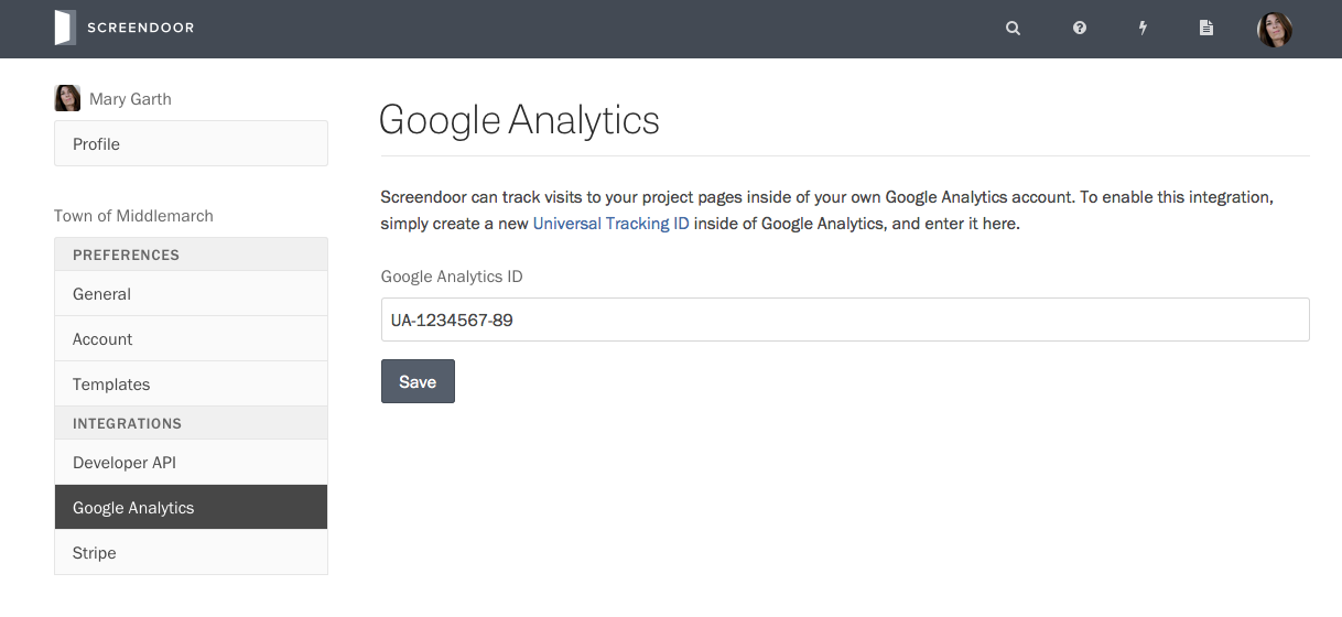 Adding your Google Analytics tracking code to Screendoor.