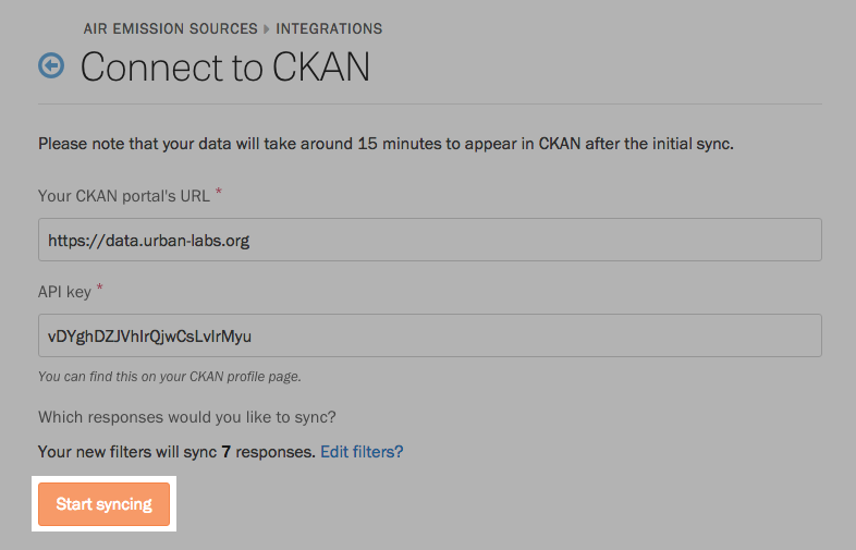 Start syncing responses to CKAN.