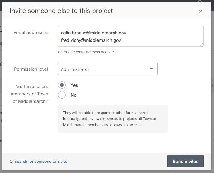 Sending bulk invites to collaborators.