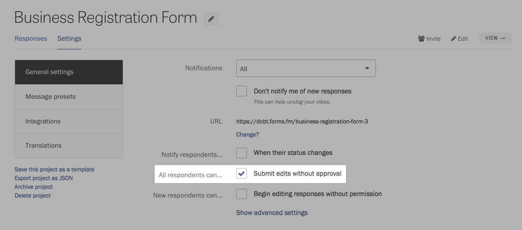 Automatically approving edits made by respondents.
