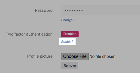 "Selecting ""Enable 2-factor authentication"" from the Profile page."