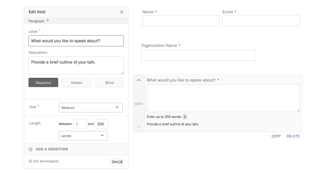 Editing a form field.