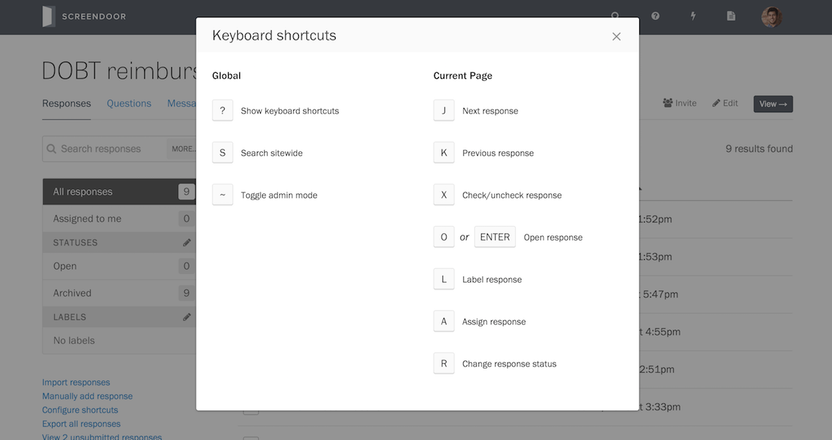 Keyboard shortcuts on the responses page