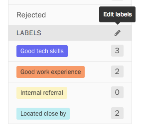Button to edit labels.