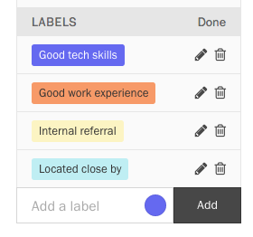 Mode for editing labels.