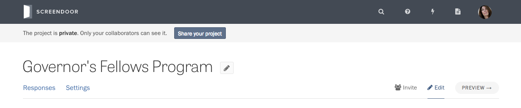 The Share your project button.