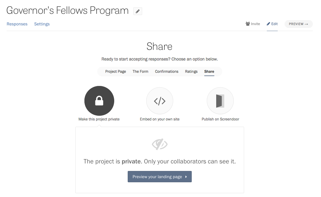 The Share page in the project wizard