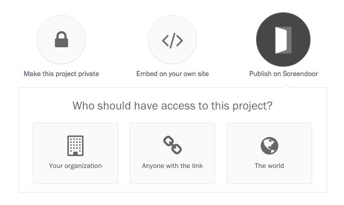 Choosing among Publish on Screendoor options.