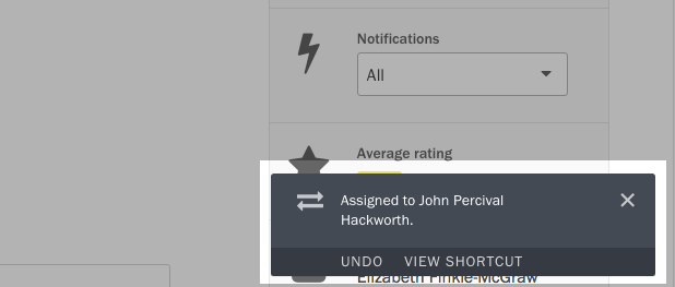 Screenshot of shortcut notification.