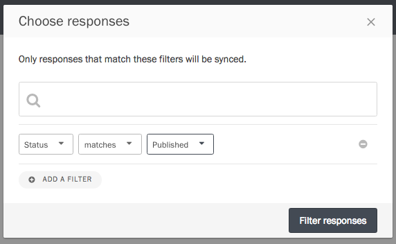 The filtering modal.