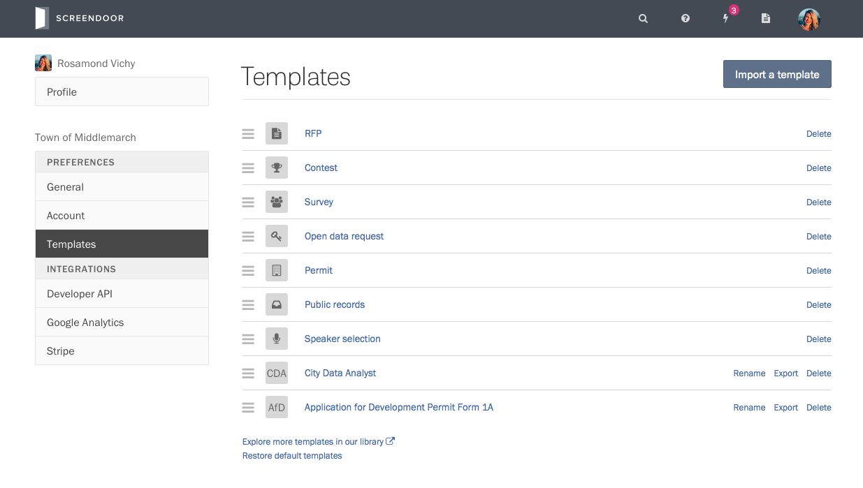 Managing your templates.