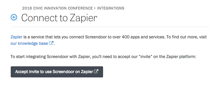 The Connect to Zapier page.