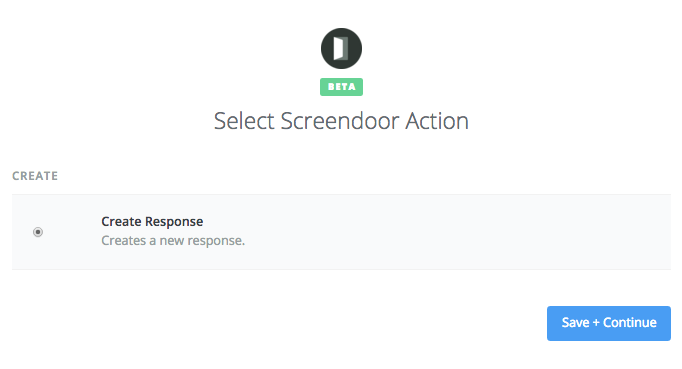 Setting up Screendoor as the Zap action