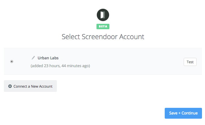 Selecting a Screendoor account.