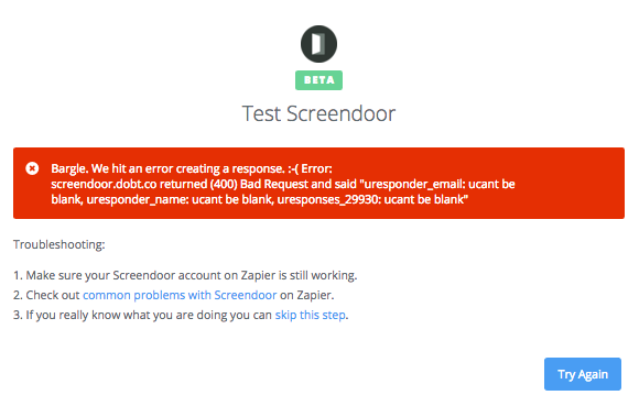 Zapier error message when testing Screendoor.